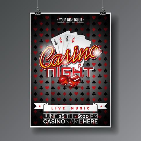 Vector Party Flyer design på ett kasinotema med spelkort och tärningar