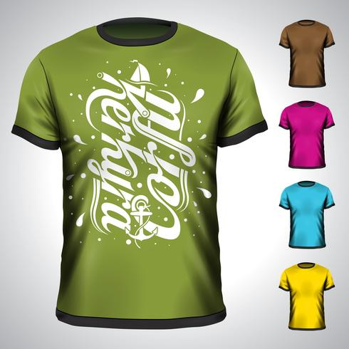 Vektort-shirt eingestellt mit Korfu-Sommerferienillustration.