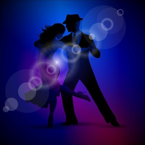 Vector el diseño con tango del baile de los pares en fondo oscuro.