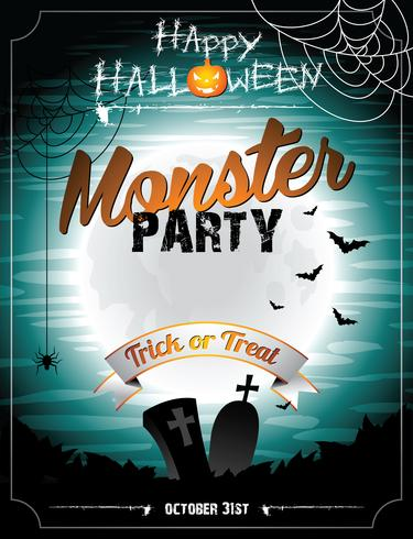 Vector Halloween illustration on a Monster Party theme with moon and bats.