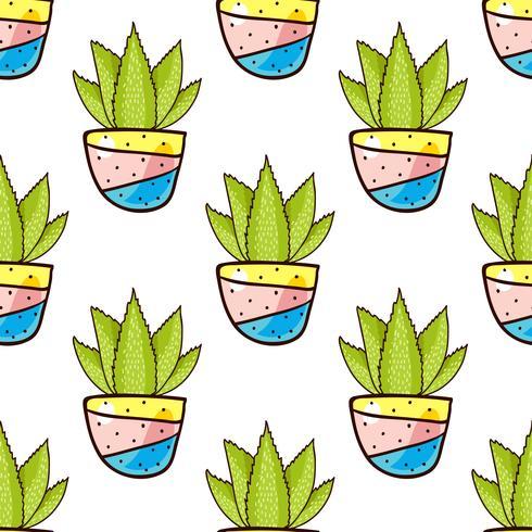 Naadloos patroon van cactussen en succulents in potten.