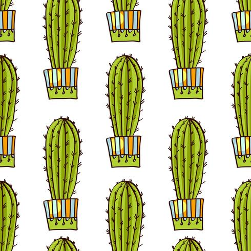Seamless pattern of cacti and succulents in pots. In the hand drawn style.  vector
