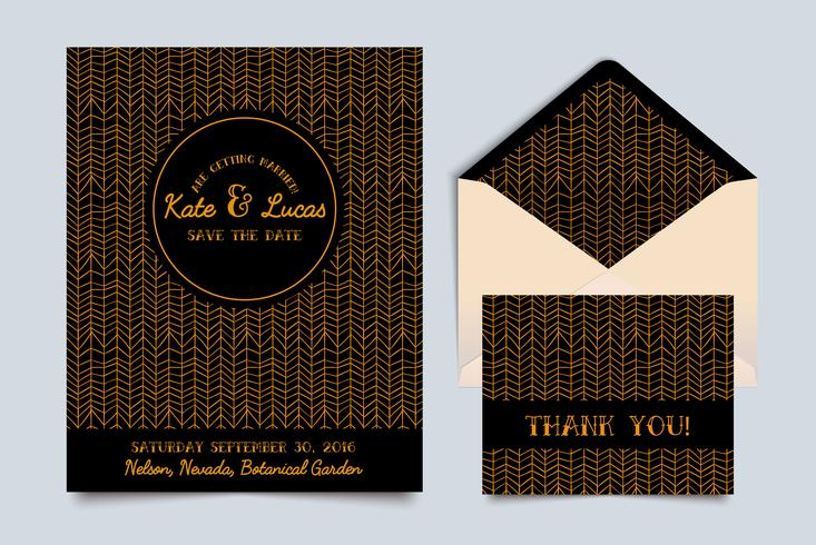 Wedding invitation card Art Deco