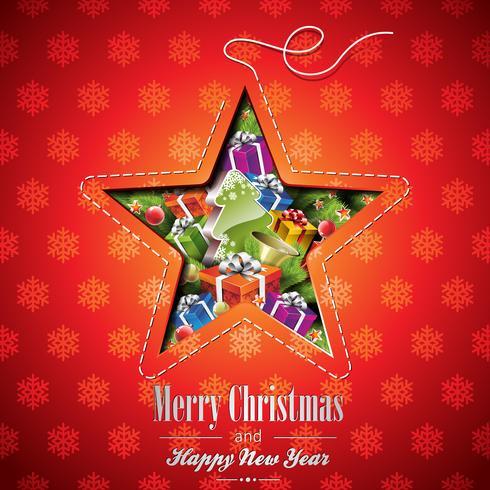 Vector illustration de Noël avec des éléments abstraits de conception et de vacances étoiles