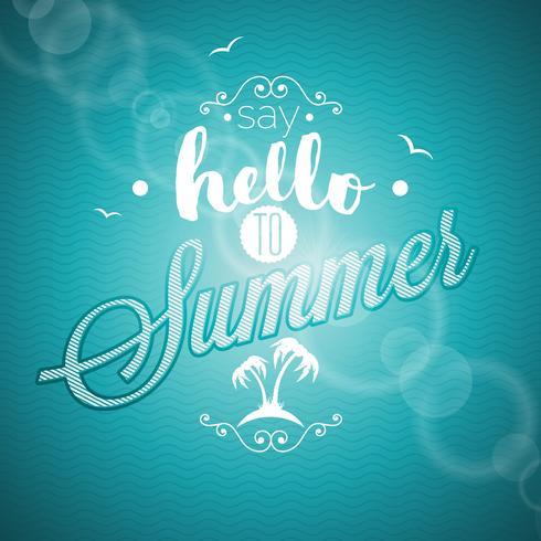 Diga Olá para citação de inspiração de verão sobre fundo azul.
