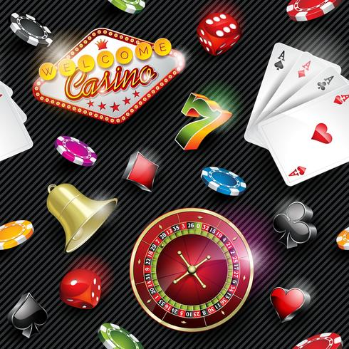 Vector seamless casino pattern illustration with gambling elements on dark striped background.
