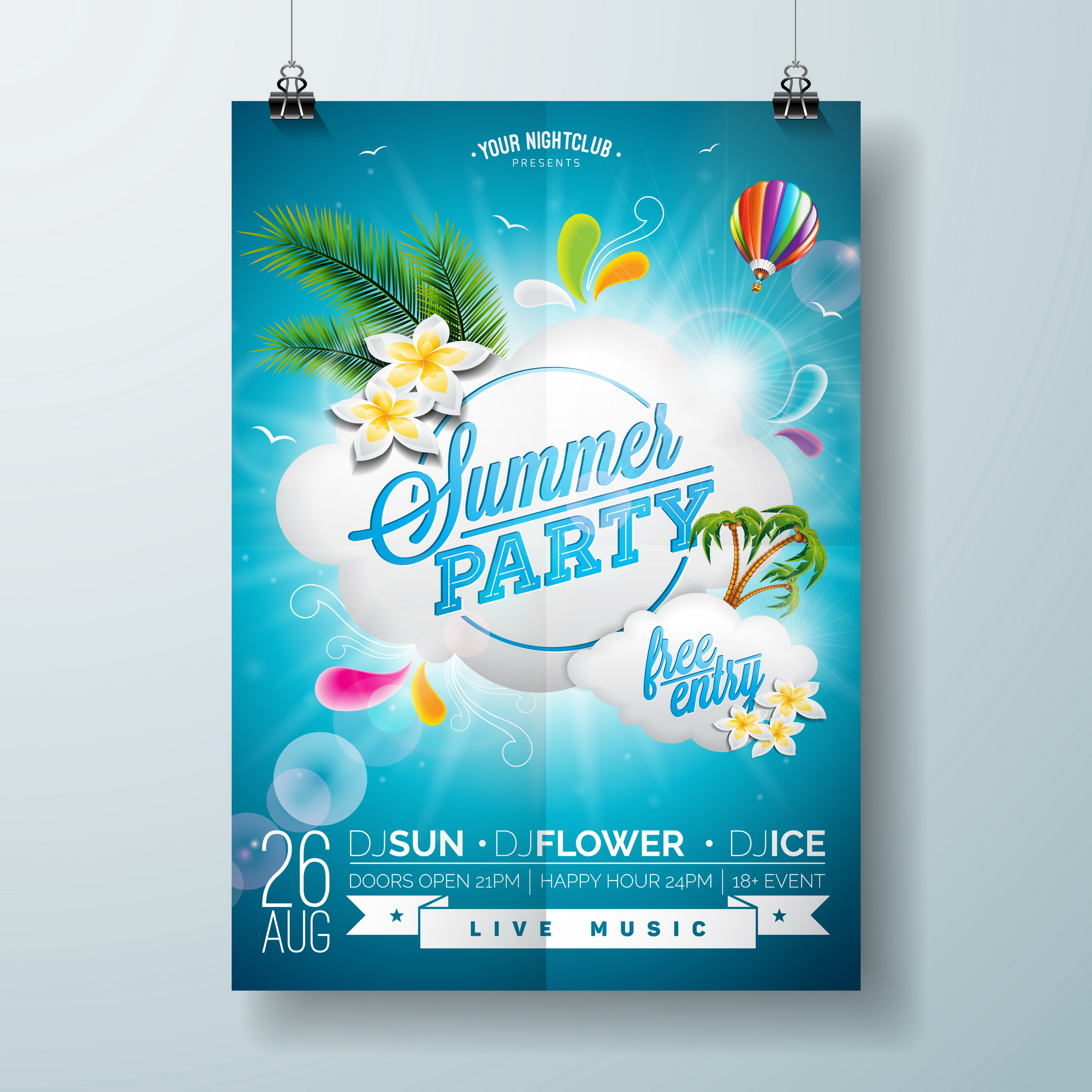 Vector Summer Beach Party Flyer Design With Typographic