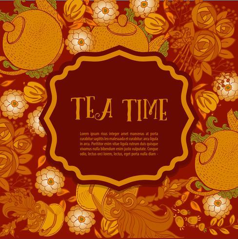 Tijd om thee te drinken. Trendy poster vector
