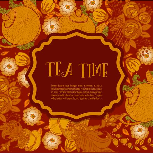 Hora de tomar el té. Cartel de moda vector