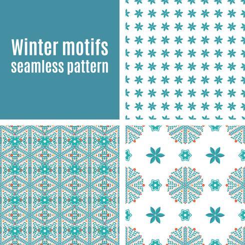Set nahtlose Muster von Schneeflocken