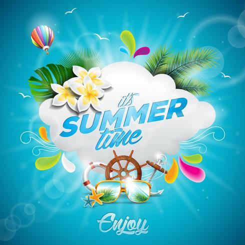 Illustration typographique vecteur Bonjour vacances d'été avec des plantes tropicales