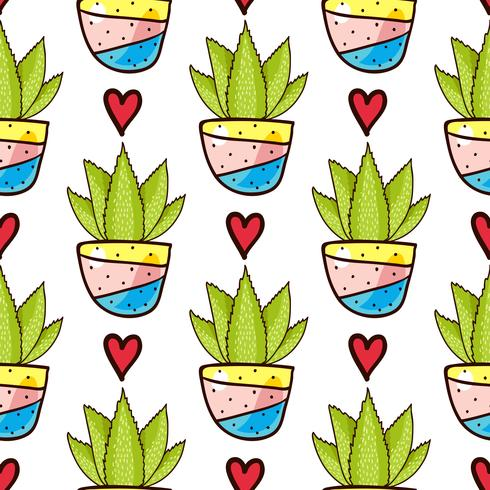 Seamless pattern of cacti and succulents in pots. vector