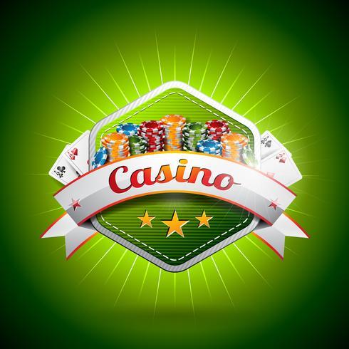 Illustrazione vettoriale su un tema di casinò con la carta da poker e patatine.