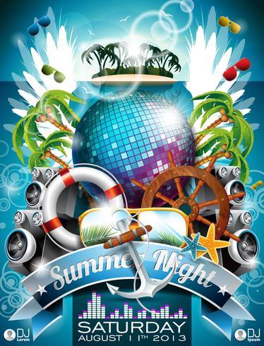 Vector Summer Beach Party Flyer Design avec boule disco et éléments d'expédition