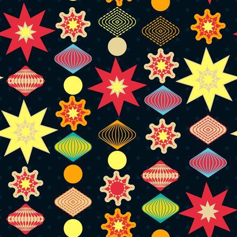 Decoraciones navideñas retro, patrón transparente. vector