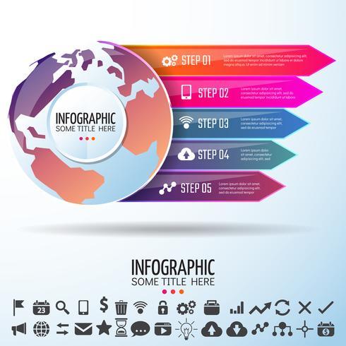 Mapa del mundo infografía plantilla de diseño vector