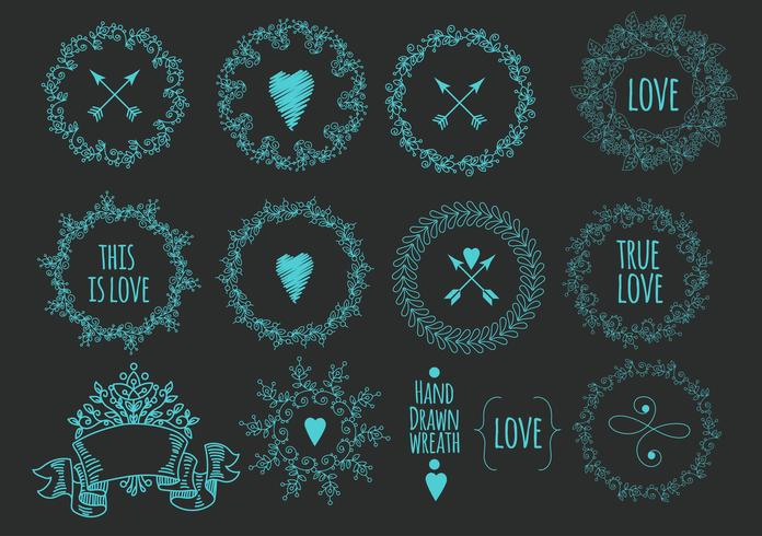 Collection of handdrawn laurels and wreaths.