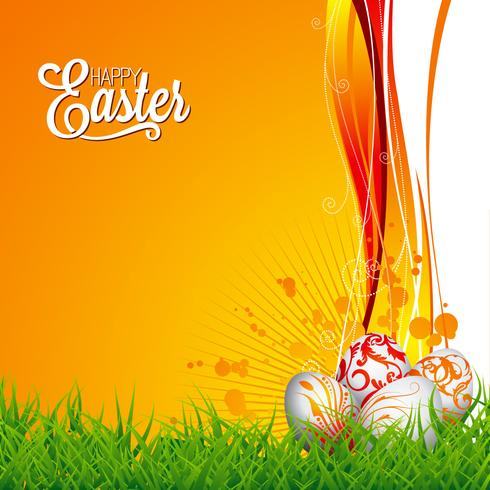 Ilustración de Pascua con huevos pintados de color sobre fondo de primavera