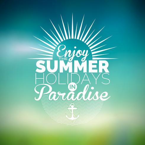 Illustration vectorielle sur un thème de vacances d'été sur fond flou.