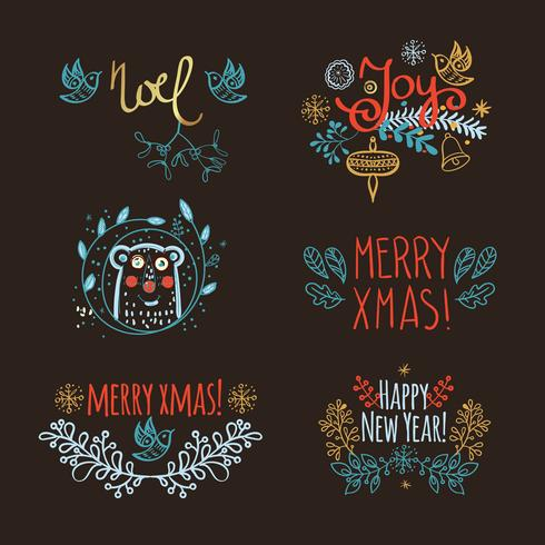 Vintage Hand Drawn Christmas headline vector