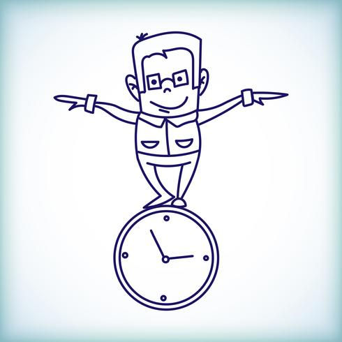 Cartoon Geschäftsmann, Zeitmanagement
