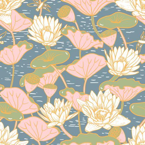 Lírios de água elegantes, Nymphaea sem costura padrão floral