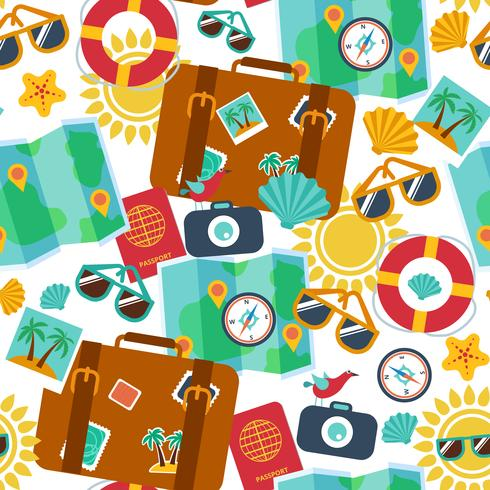 seamless backgrounds of travel, summer  vector