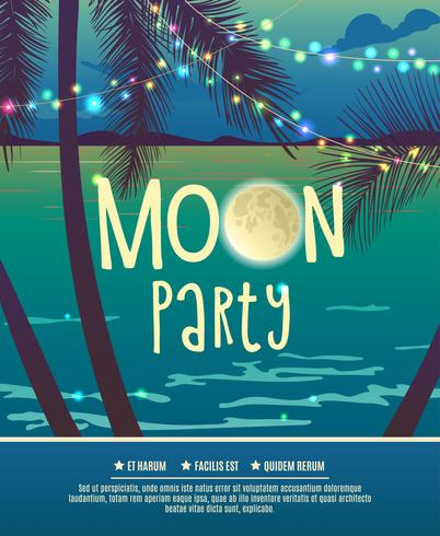 Flyer for the full moon party. vector