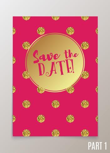 Carta di tendenza per matrimoni, salva l'invito per la data, RSVP e biglietti di ringraziamento. vettore