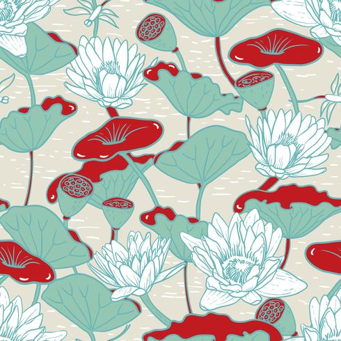 Elegant Water Lilies, Nymphaea seamless floral pattern vector