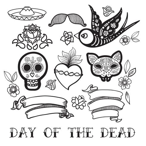 Coloring for adults of Day of the Dead  vector
