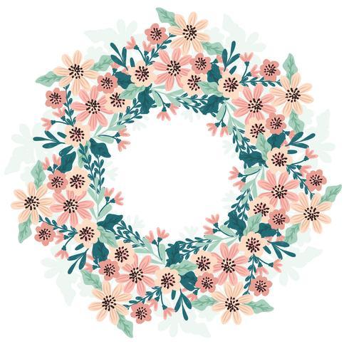 Vector dibujado a mano corona floral