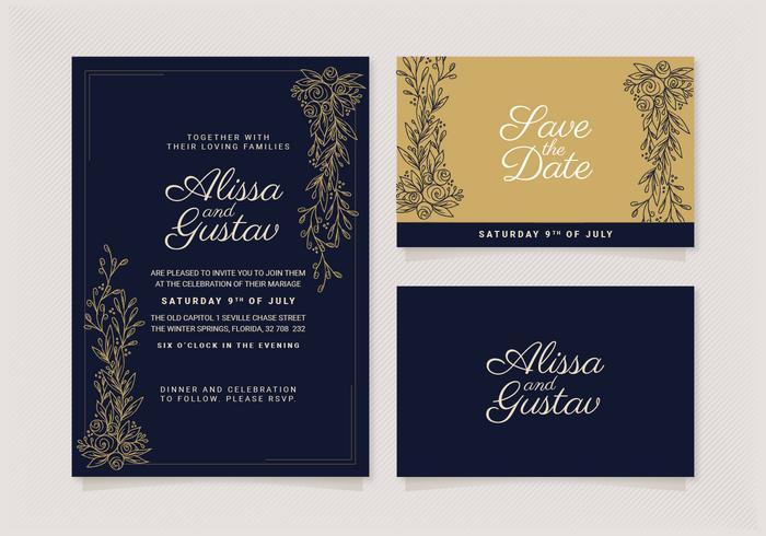 Vector elegante bruiloft uitnodiging