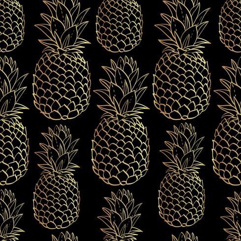Exotic seamless pattern with silhouettes tropical fruit pineapples.