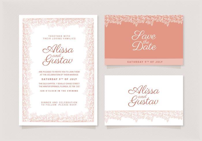 Vector Rose Gold Bröllop Inbjudan