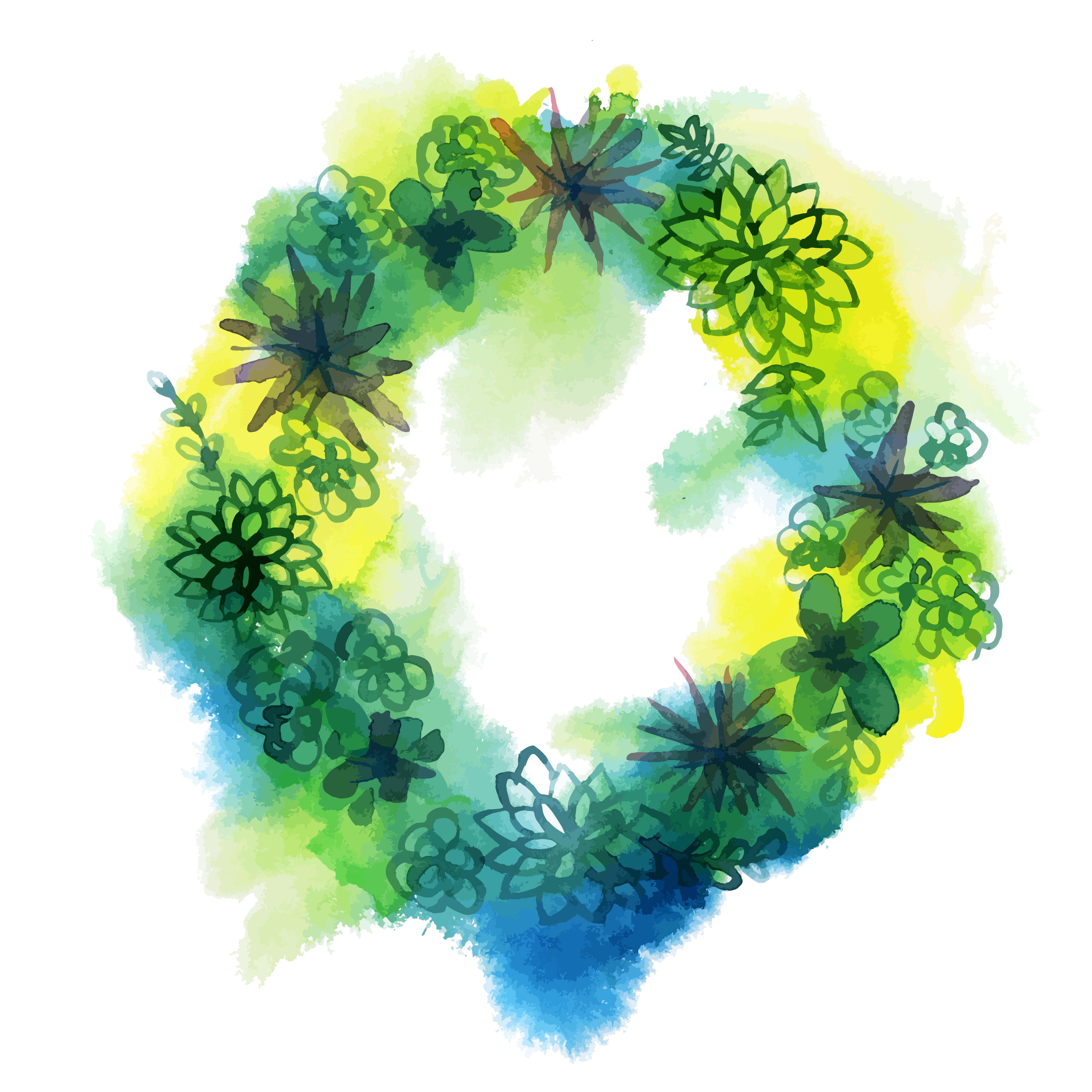 Watercolor Succulent Wreath Download Free Vectors Clipart Graphics Vector Art