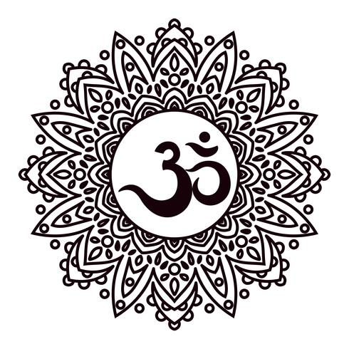 Om of Aum Indiaas heilig geluid, originele mantra, een woord van kracht. vector