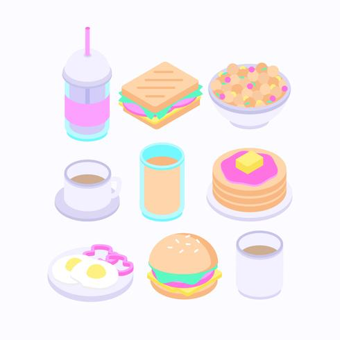 Vector Isometric Breakfast Illustration