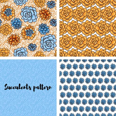 Trend of succulents patterns and stripes.  vector