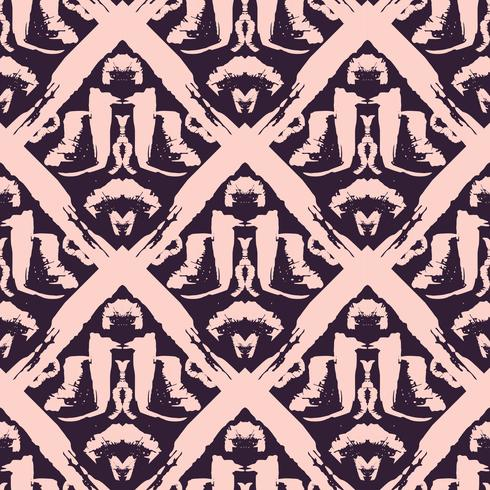 Hand drawn painted seamless pattern. vector