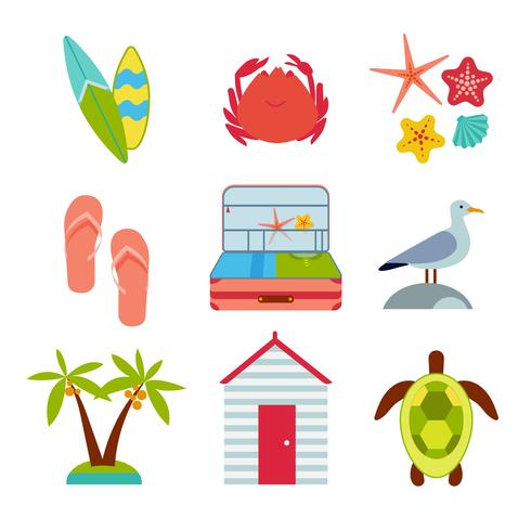 Flat icons set of traveling
