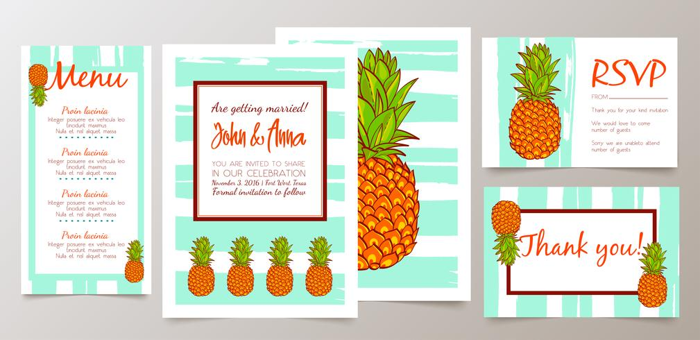 Ahorre la fecha, tarjeta de invitación de boda con piñas retro vector