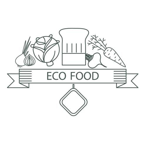 badge ecological food vector
