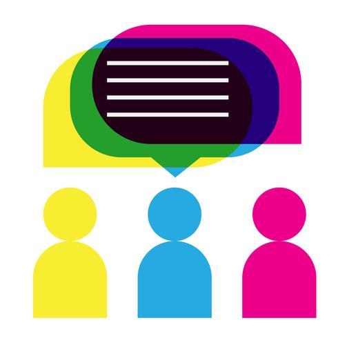 Leuteikonen mit bunten Dialogspracheblasen vektor