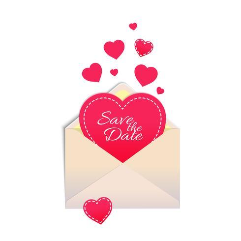 Envelope com coração vetor
