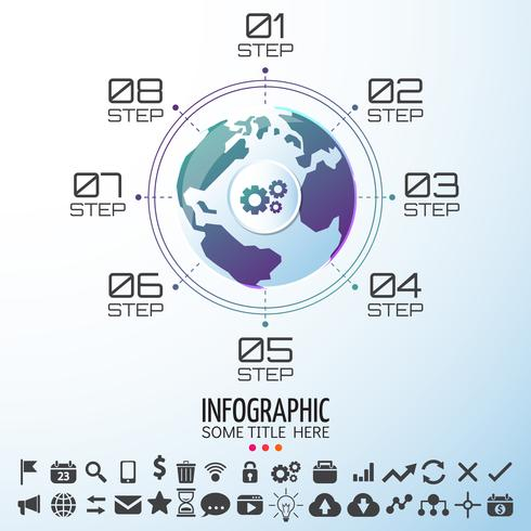 Modelo de design de infográficos do mapa mundo