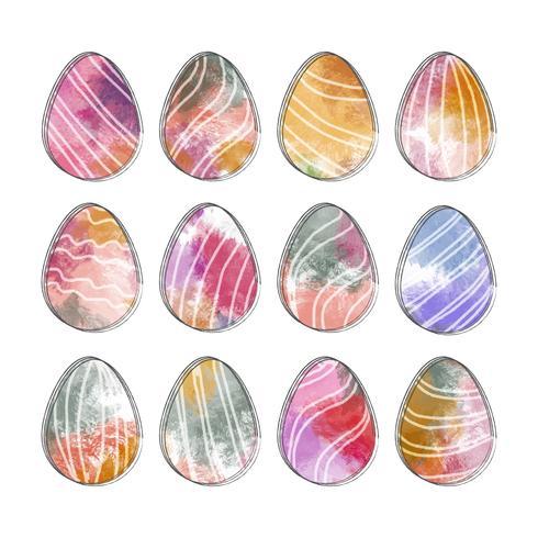 Vector Watercolor Easter Eggs