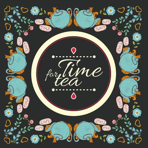 """cadre de guirlande de fleurs de thé """"time for tea"""""""