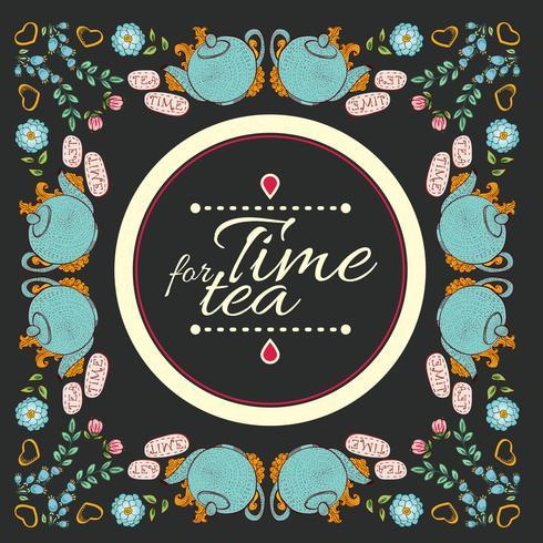 "te blomma krans ram ""tid för te"" vektor"