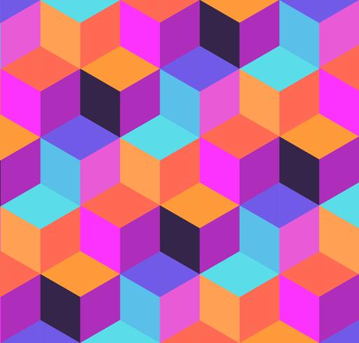 Geometrisches Muster aus Würfeln und Pastillen.